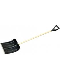 (64348) Лопата снеговая 390х490мм пластмассовая с деревянным черенком и V-обр. ручкой (оцинк.планка)
