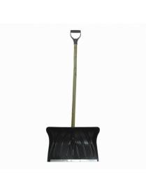 (64349) Лопата снеговая 500х380мм пластмассовая с деревянным черенком и V-обр. ручкой (оцинк.планка)