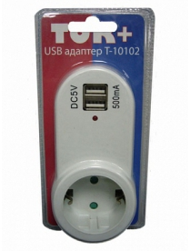 """Адаптер сетевой """"Ток+"""" на 1 гнездо + 2 гнезда USB, 220В, 16А (Т10102)/72"""