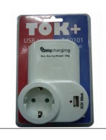 """Адаптер сетевой """"Ток+"""" на 1 гнездо + гнездо USB, 220В, 16А (Т10101)/48"""