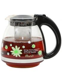(73347) Заварочный чайник BONJART 1500 мл., Жаропрочное стекло, деколь, метал. фильтр 3142
