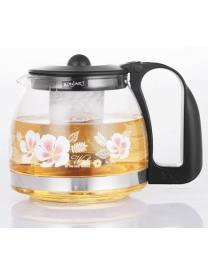 (73346) Заварочный чайник BONJART 1250 мл., Жаропрочное стекло, деколь, метал. фильтр 3265