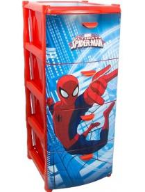 (64611) М2805-М Комод Человек-паук (4 секции) Красный