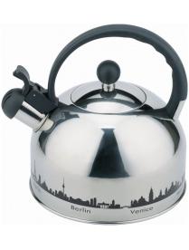 985609 Чайник из нерж. стали MAL-CITY-01 с рисунком, меняющим цвет (3,0 литра, со свистком, капсульн