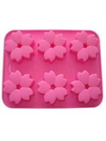 (74338) Форма для выпечки силиконовая 6 кексов Цветочки №1 23*17,2*2,5см (KT-S-314)