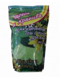 """(74812) 132 Соль натуральная с пеной для ванн """"Череда и крапива"""" (упаковка дой-пак) 900 г"""