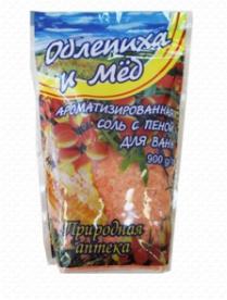 """(74811) 198382 Соль натуральная с пеной для ванн """"Облепиха и мед"""" (упаковка дой-пак) 900 г"""