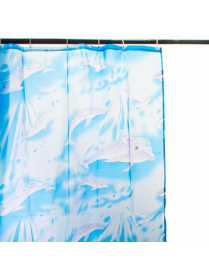 "461-060 VETTA Шторка для ванной, ПВХ, 170х180см ""Дельфин"" голубая YA01"
