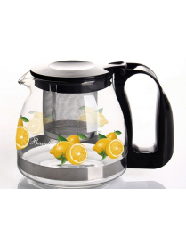 (76605) Заварочный чайник BONJART 700 мл., Жаропрочное стекло, деколь, метал. фильтр 4125
