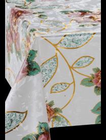 (77936) ZJ-4103H-8016A Клеёнка ЛАЗЕР н/о 1.37*20м крупные розы на белом