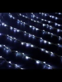 """Гирлянда """"Дождь"""" Ш:2 м, В:1,5 м, нить силикон, LED-400-220V, контр. 8 р, БЕЛЫЙ 671639"""