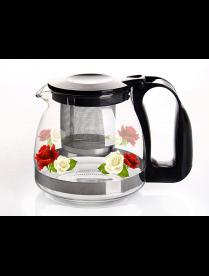 (82008) 4130 Заварочный чайник 700 мл., Жаропрочное стекло, деколь, метал. фильтр