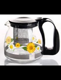 (82010) 3138 Заварочный чайник 700 мл., Жаропрочное стекло, деколь, метал. фильтр