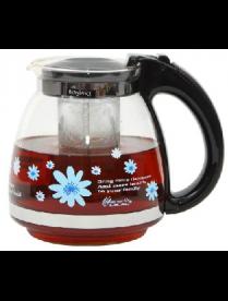 (81998) 3144 Заварочный чайник 1500 мл., Жаропрочное стекло, деколь, метал. фильтр