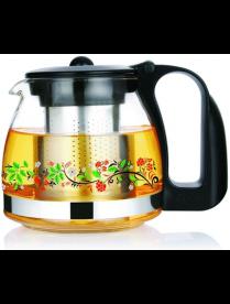 (81997) 3302 Заварочный чайник 1250 мл., Жаропрочное стекло, деколь, метал. фильтр