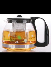 (81996) 3213 Заварочный чайник 1250 мл., Жаропрочное стекло, деколь, метал. фильтр