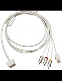 40-0101 AV кабель для iPhone 4 на 3RCA и USB для передачи фото и видео