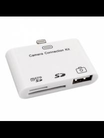 18-0153 Адаптер для iPhone 5 на USB, SD, microSD для переноса фото белый