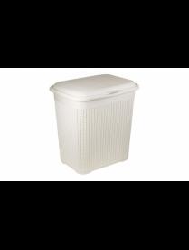 (83128) М2602 Корзина для белья Вязание 40л. Белый М2602 (5)