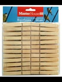 (82620) Набор прищепок деревянных Воробушки 24 шт