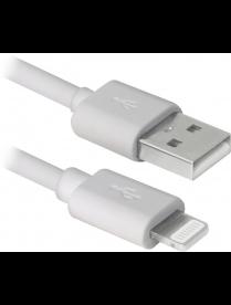 USB кабель ACH01-10BH белый, USB(AM)-Lightning, 3м DEFENDER 87466/87467