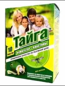 """(83151) Ср-во от комаров """"Тайга"""" комплект: фумигатор+пластины 10шт. (1*12)(3694)"""