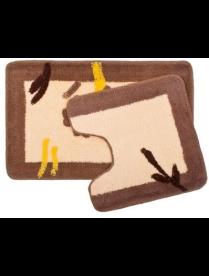 """(84930) 462-464 Набор ковриков 2шт для ванной и туалета, акрил, 50*80+50*50, """"Бежевый цветок"""" SCF11-"""