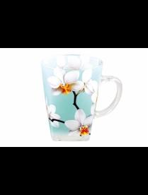 (85397) B091-H2013026 Кружка 275 мл квадрат2белая орхидея