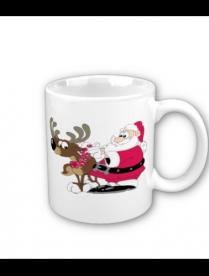 "(79386) KL02 Кружка, ""Дед Мороз с оленем"" 320мл керамика"