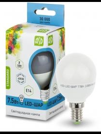 016.2209 LED-ШАР-standard 7.5Вт 160-260В Е14 3000К 600Лм ASD светодиодная