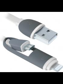 USB кабель USB10-03BP белый, MicroUSB + Lightning, 1м DEFENDER 87493