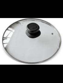 987028 Крышка G-type из закал стекла с отвер-м для выпуска пара с бак ручкой, 24 см, VETRO, тм Mallo