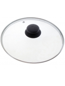 987023 Крышка с ручкой стеклянная 20см., с метал/обод, паровыпуск, низ