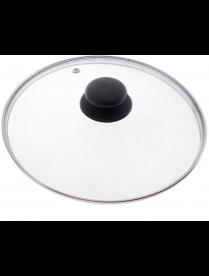 987024 Крышка с ручкой стеклянная 30см., с метал/обод, паровыпуск, низ.