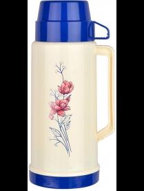 003678 Термос в пластик корп, объем -1 л, стекл колба с 2-ми стенками (1 чашка), серия FIORE, тм Mal