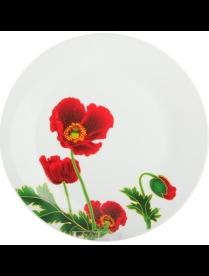 Тарелка десертная 18см LX7693 Красные маки LX7693
