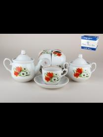 (79027) 8С0397/1Ф34 Сервиз чайный 1/14 ф.кирмаш 10 ромашка с тюльпаном 8С0397/1Ф34