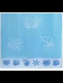 Полотенце Aquarelle МХ42 35/70 Ракушки аква /светло-васильковый.