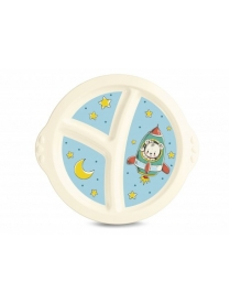 (92244) С13046 Тарелка детская трехсекционная с голубым декором (бежевый) С13046