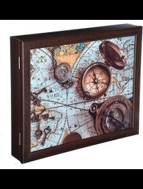 (92826) 510-109 Ключница закрытая с изображением карты, на 7 крючков, 31х26х5см, МДФ, Дизайн 510-109