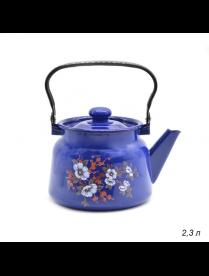 (93308) С2714.3К Чайник 2,3л кобальтовый декор с пл. кнопкой (4) С2714.3К