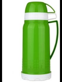 (95683) 60658 Термос ТС-1.0 л ВЕНЕЦИЯ (Термос пластиковый со стеклянной колбой, две чашки. Цвет зеле