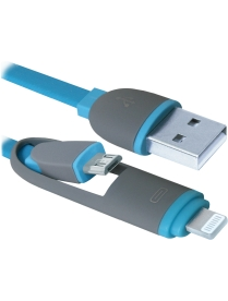 USB кабель USB10-03BP MicroUSB + Lightning,1м DEFENDER 87487/87488