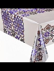 (53576) LS-1283CB Клеенка ЛАЗЕР печатная 1,37*20м фиолет. цветы на белом 1/1