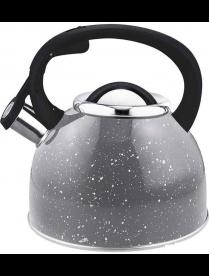 """005171 Чайник из нерж стали со свистком """"Arte"""" (серый с белыми точками), литраж - 2,5 л, тм Mallony"""