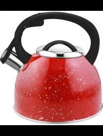 """005174 Чайник из нерж стали со свистком """"Arte"""" (красный с белыми точками), литраж - 2,5 л, тм Mallon"""