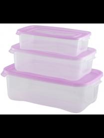 Комплект контейнеров для СВЧ (3шт) 0,7л,1,2л,2,2л Каскад прямоугольный С59003