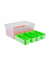 (98161) FB5051 Ящик для хранения KID'S BOX с ручкой 10 л 12 вставок S + 2 лотка S 375х255х160мм