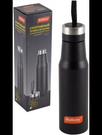 005243 Спортивный термос-бутылка с силиконовым ремнем, NERO, 0,5 л, тм Mallony