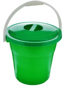 (74858) Ведро 12 л Евро пищевое с крышкой (зеленый цвет)